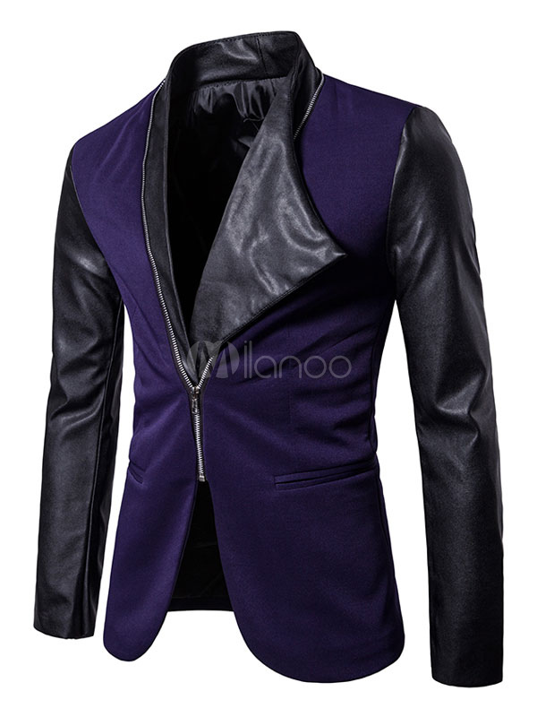 Men Casual Suit Dark Navy Turndown Collar Long Sleeve Short Jacket