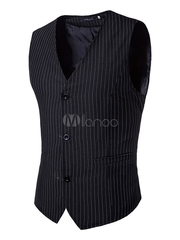 Buy Black Vest Jacket Men Suit Vest V Neck Sleeveless Striped Waistcoat for $26.99 in Milanoo store