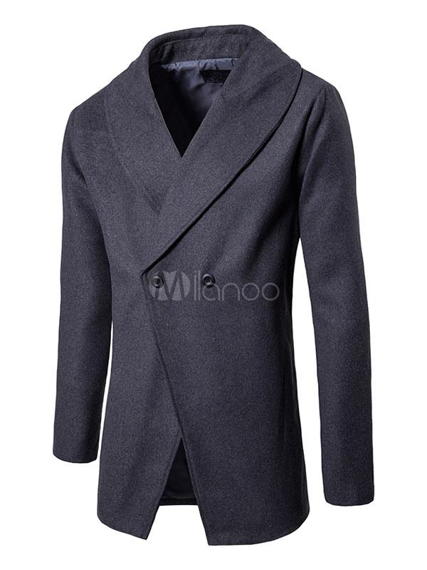 Buy Grey Coat Men Overcoat Turndown Collar Long Sleeve Double Breasted Long Coat for $42.74 in Milanoo store