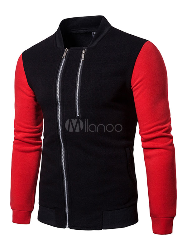 Buy Men Bomber Jacket Stand Collar Long Sleeve Zip Up Short Jacket Spring Jacket for $26.99 in Milanoo store