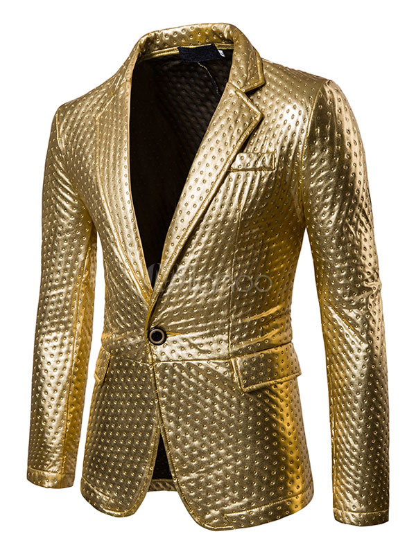 Casual Blazer Men Turndown Collar Long Sleeve Suit Jacket Gold Regular Fit Blazer For Men