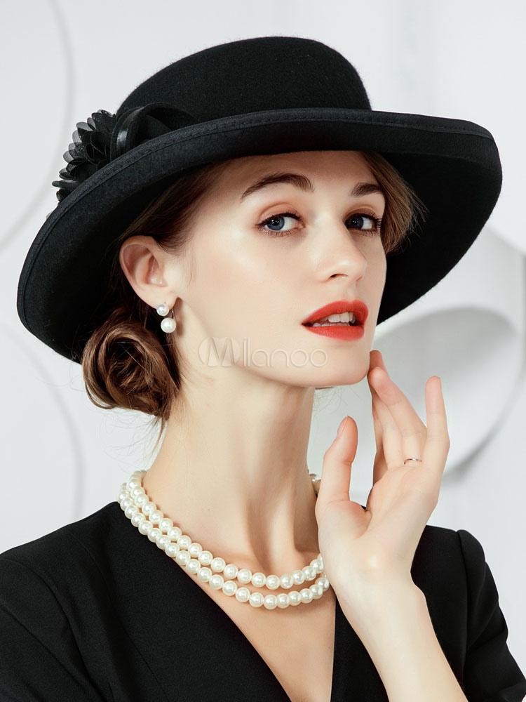 5a7992b4e13 coffure chapeau rétro de cosplay élégante de fêtes de fête en laine en  laine chapeau ...
