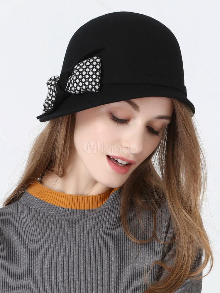 ead197d82b8df9 Vintage Cloche Hats Black Bows Wool Hat For Women - Milanoo.com