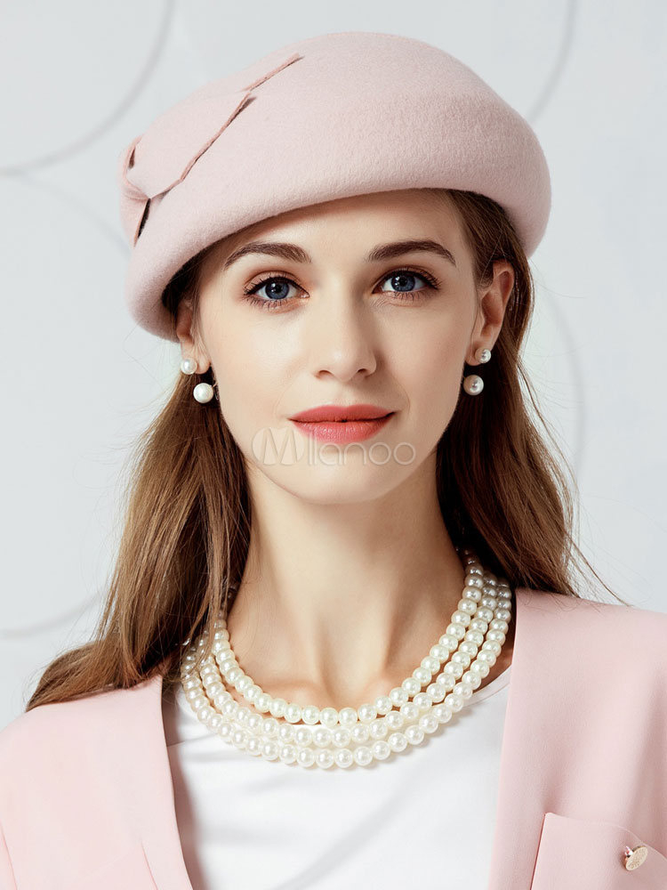 424b9581059 Vintage Beret Hats Women Blush Pink Bows Wool Barett Hat - Milanoo.com