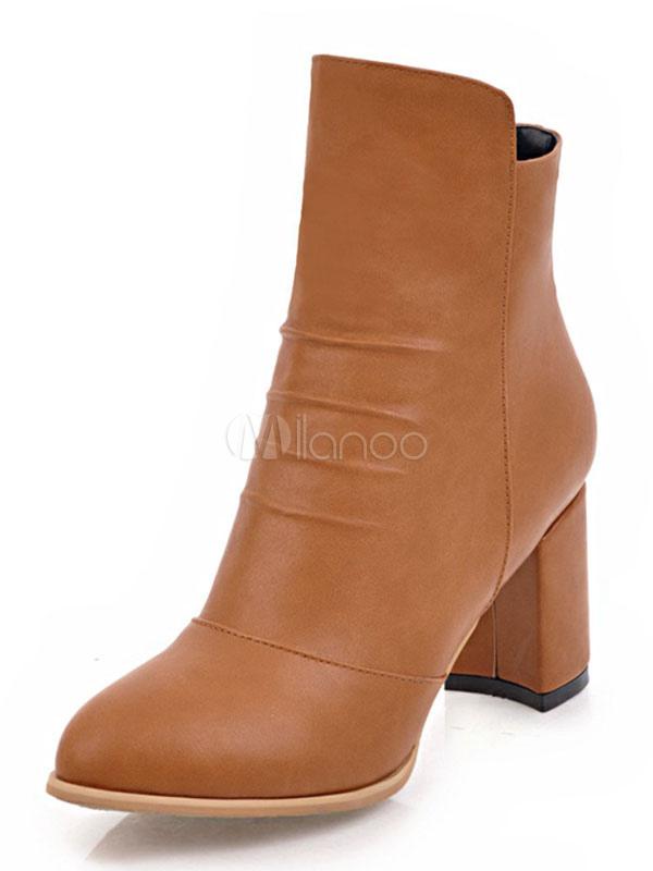 à Bottine plissée et unicolore bout talons femme rond en PU Boots épais dxorCeBW