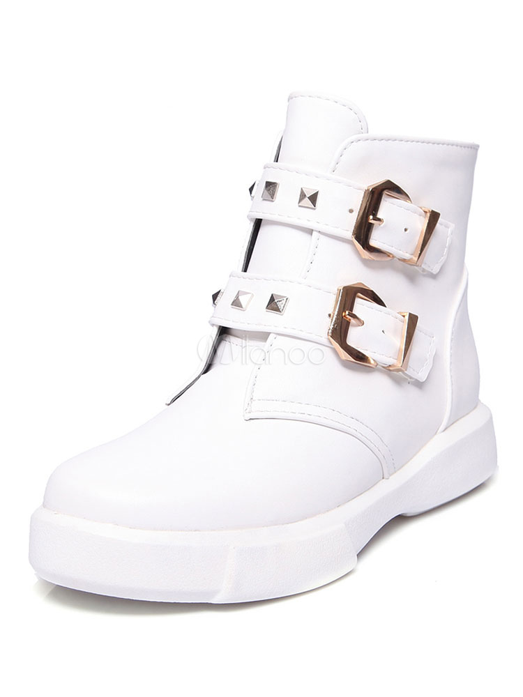 da09e6e12 White Ankle Boots Women Shoes Leather Round Toe Buckle Detail Flat Booties-No.1  ...