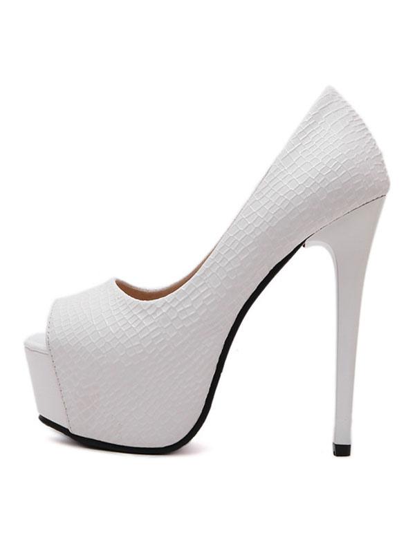 White High Heels Peep Toe Platform Slip