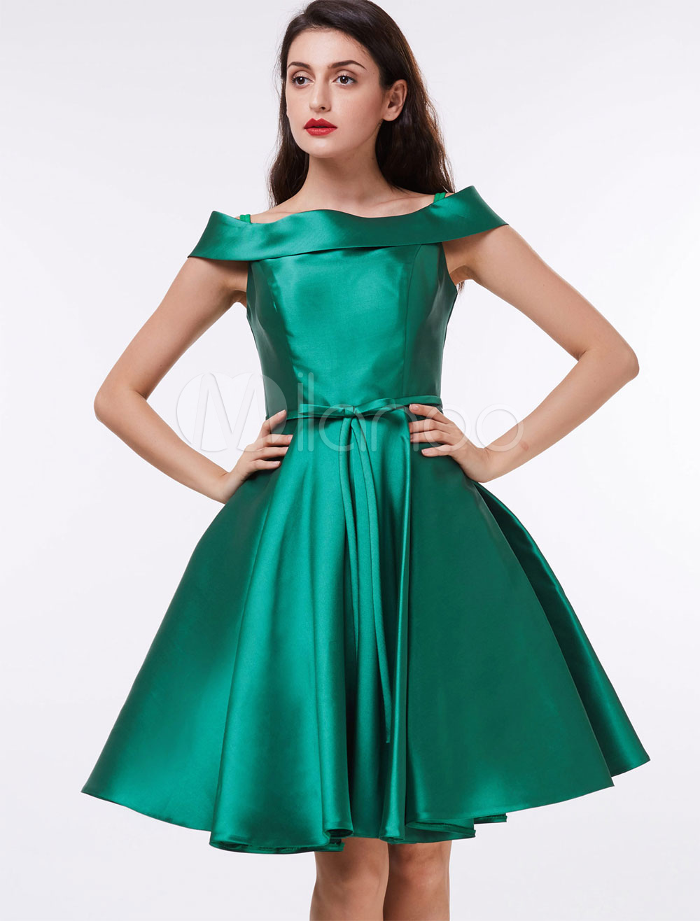 Women Vintage Dress 1950s Dress Green Bow Sash Short Sleeve Swing Dress