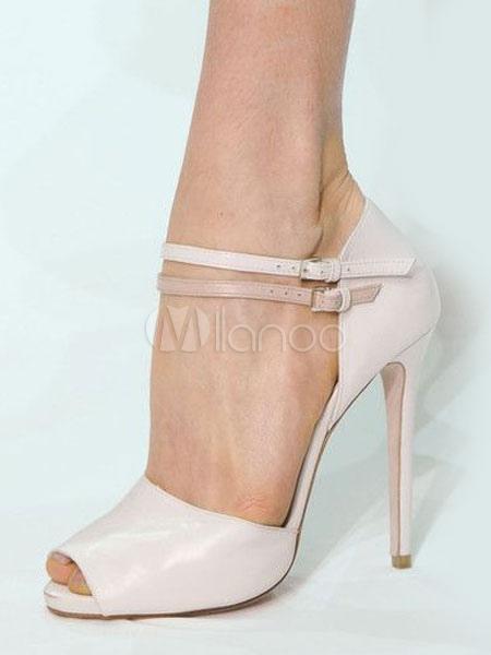 4829d77f3853 Women Sandal Shoes High Heel Stiletto Peep Toe Soft Pink PU Ankle Strap  Sandals-No