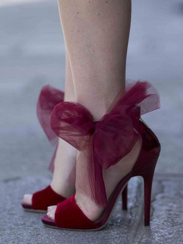 576e3638ff9c High Heel Sandals Burgundy Peep Toe Ankle Strap Sandal Shoes Women Dress  Shoes-No.