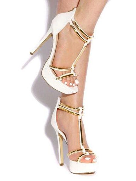 Open Toe T-strap Stiletto Heel Sandals