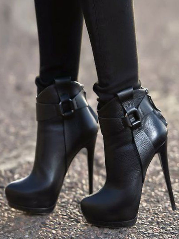 Black Ankle High Heel Boots