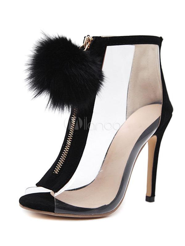 Zapatos estilo moderno de punter Peep Toe negra de tacón de stiletto Primavera estilo street wear EqVmyPk