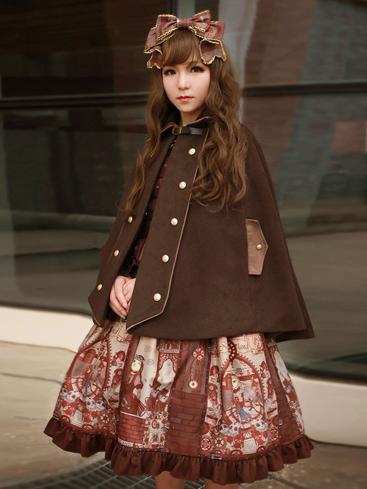 Punk Lolita Cape Coat Neverland Turndown Collar Long Sleeve Brown Lolita Wool Coat