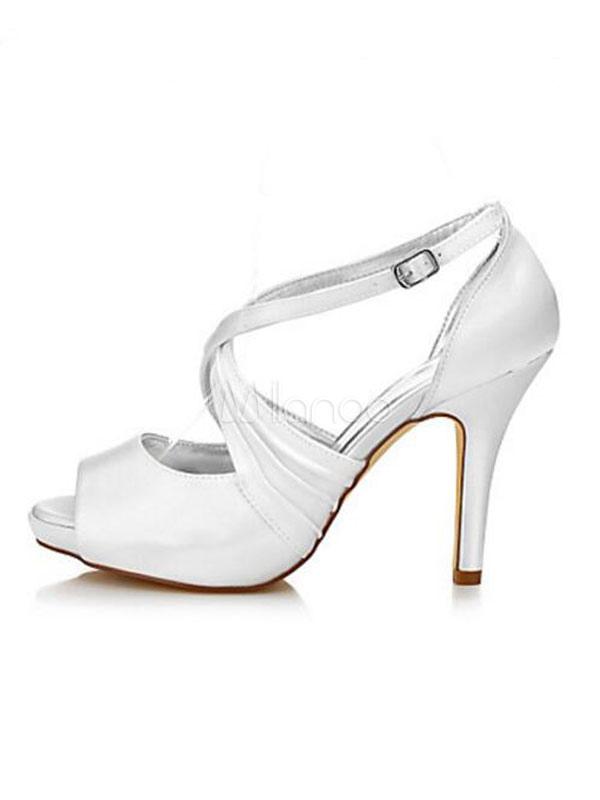 06e9ea238b73 ... Scarpe da sposa bianche satin comode a punta aperta tacco a fino 10.5cm  per la ...