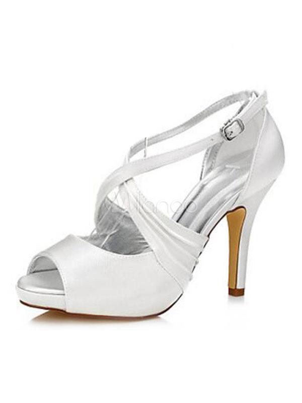 White Wedding Shoes Satin Peep Toe Criss Cross High Heels Women Shoes