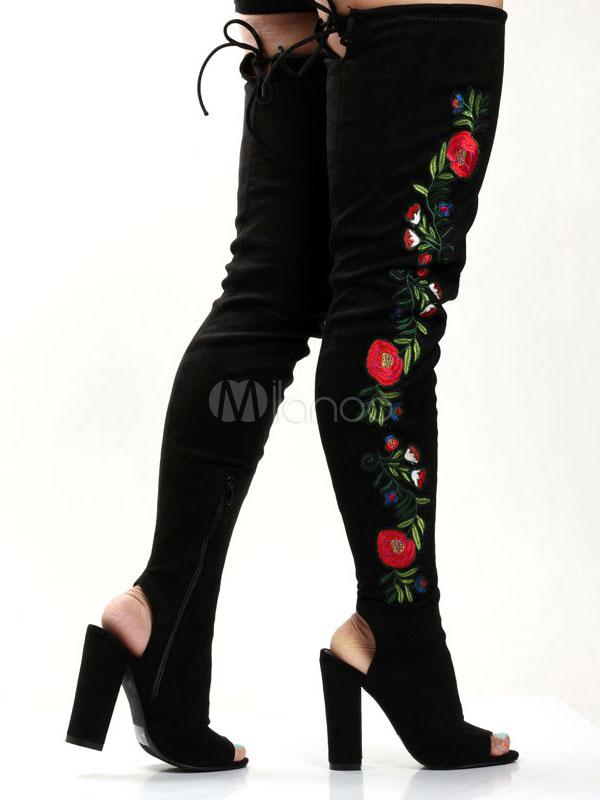 Botas sobre la rodilla Cuero con apariencia suave negras Artísticas con bordado estilo moderno 4tCEo