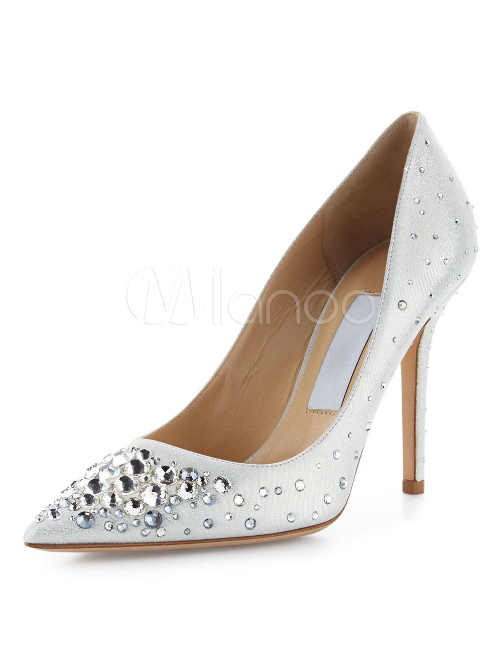 Ivory High Heels Women Dress Shoes Pointed Toe Rhinestones Slip On Pumps