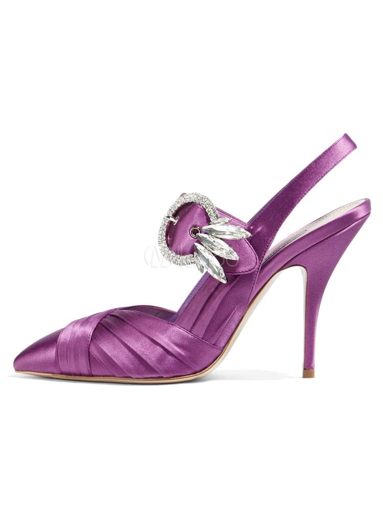 8d8d6d8d701 Women High Heels Purple Dress Shoes Satin Pointed Toe Rhinestones  Slingbacks Evening Shoes-No.