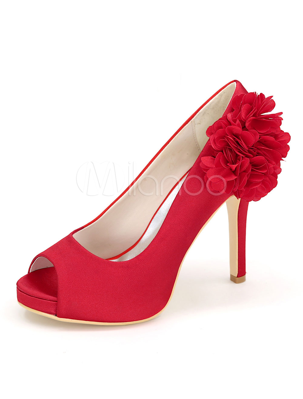 Women High Heels Red Wedding Shoes Peep Toe Flowers Slip On Bridal Shoes