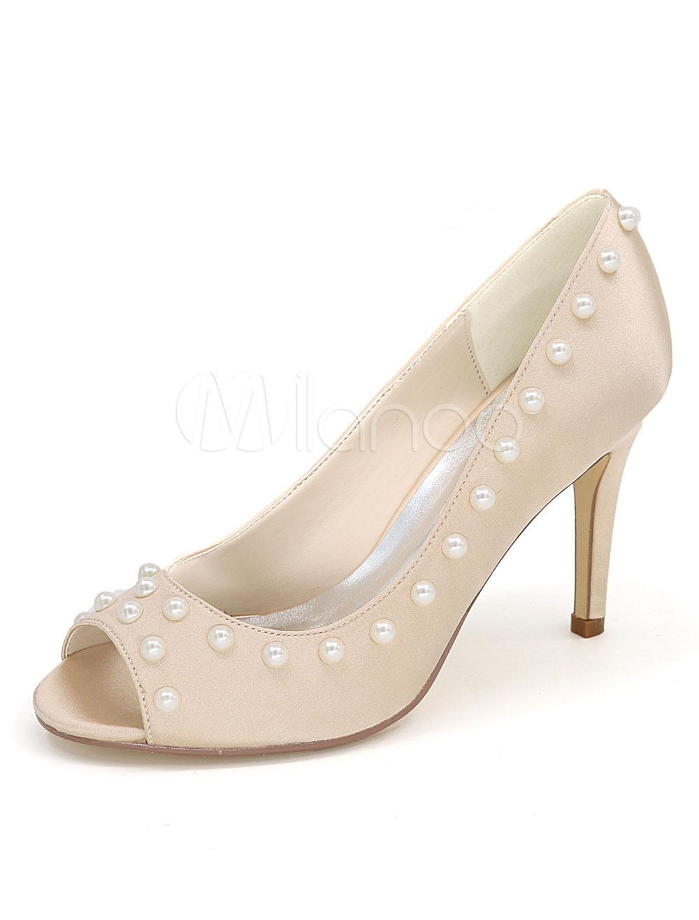 Zapatos de color champaña de satén de punter Peep Toe de tacón de stiletto Verano para fiesta estilo moderno HKJ2P
