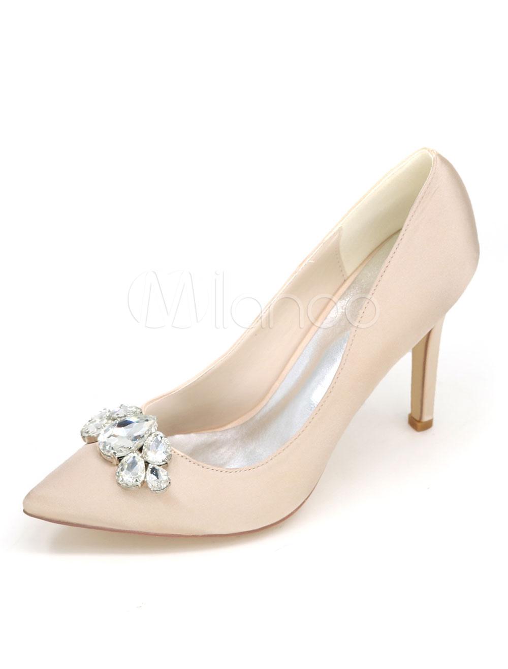 Zapatos de tacón de stiletto de puntera puntiaguada de satén elegantes para boda WuIImQNAq
