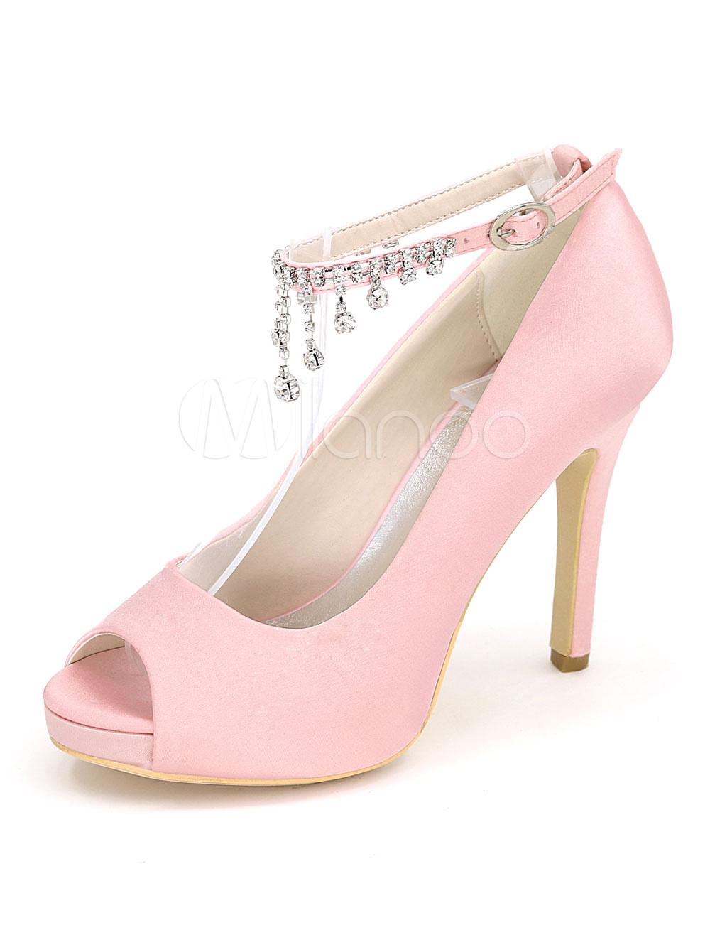 946b6c5347d0 Pink Wedding Shoes Women High Heels Satin Peep Toe Rhinestones Ankle ...