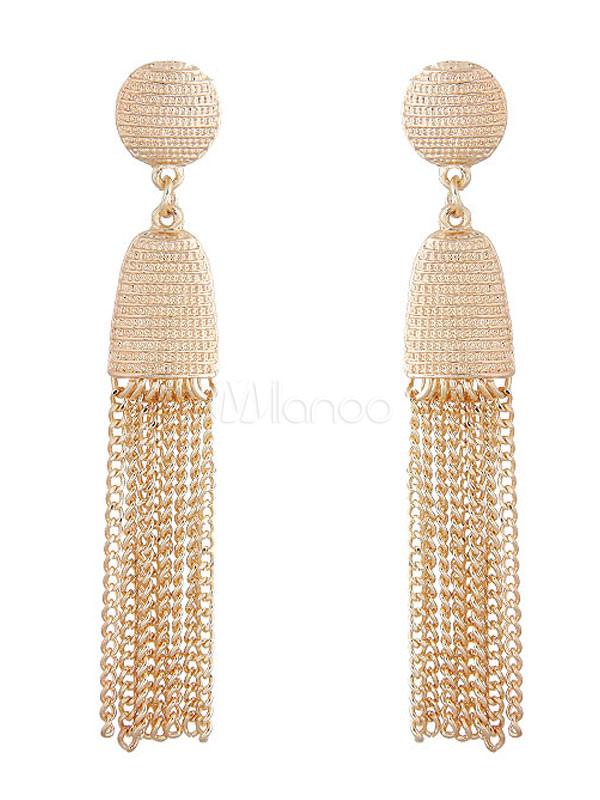 Buy Women Dangle Earring Chain Fringe Golden Boho Earring for $4.24 in Milanoo store