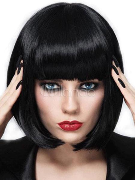 c5e14a3b64ac Parrucca da donna sintetica nera con frange a filo corto - Milanoo.com