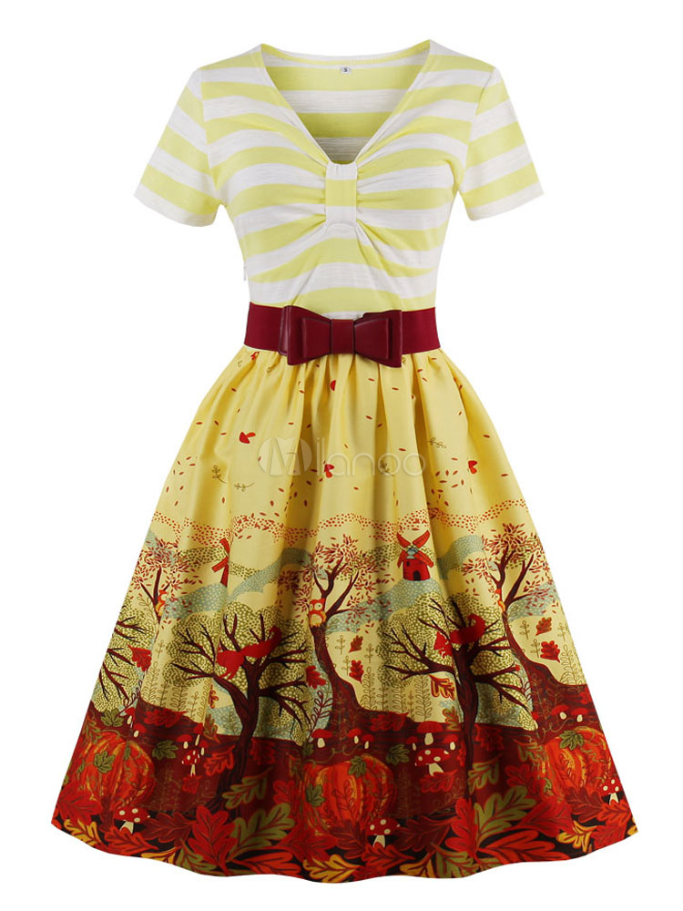 Buy Christmas Vintage Dress 1950s Midi Dress Yellow V Neck Short Sleeve Printed Women Swing Dress for $23.74 in Milanoo store