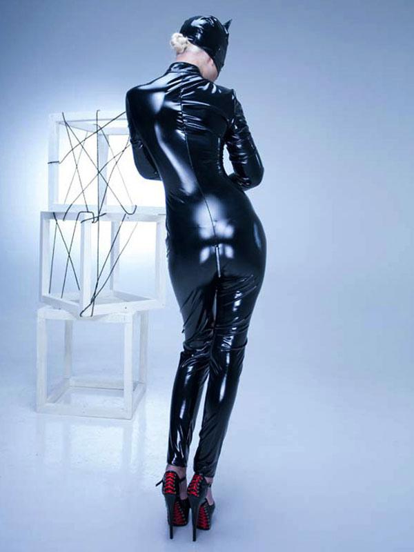 fascinante tenue de pole dance pvc avec zip unicolore collant col roul sexy. Black Bedroom Furniture Sets. Home Design Ideas