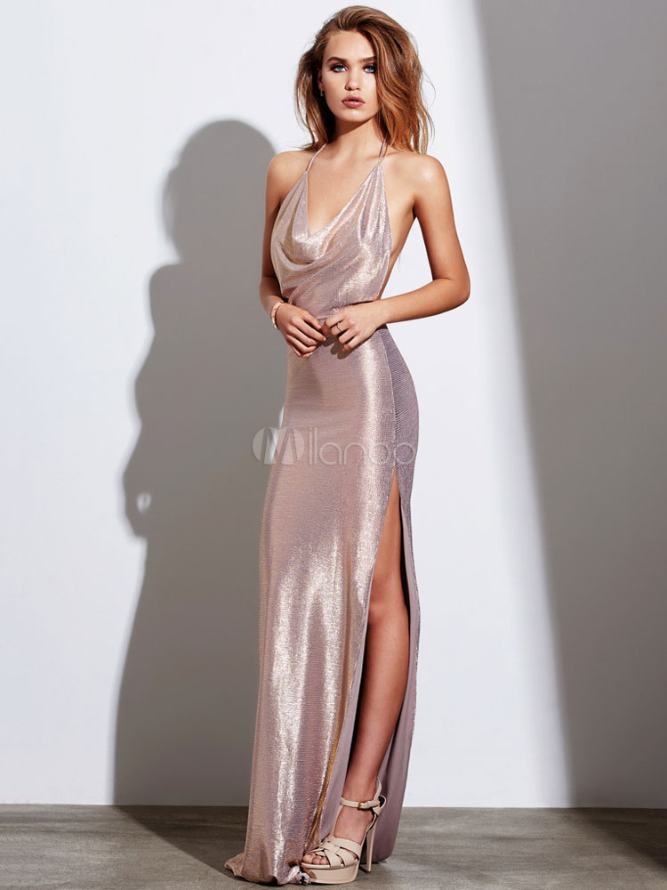 Buy Maxi Party Dress Women Sexy Evening Dress Nude Split Backless Cowl Neckline Slip Dress for $32.29 in Milanoo store