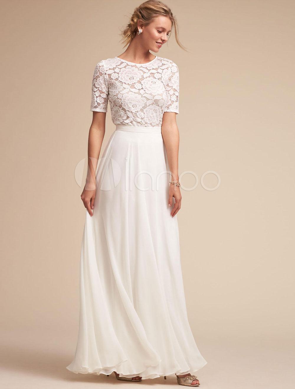 White Long Dress Lace Prom Dress Women Chiffon Short Sleeve Maxi Party Dress