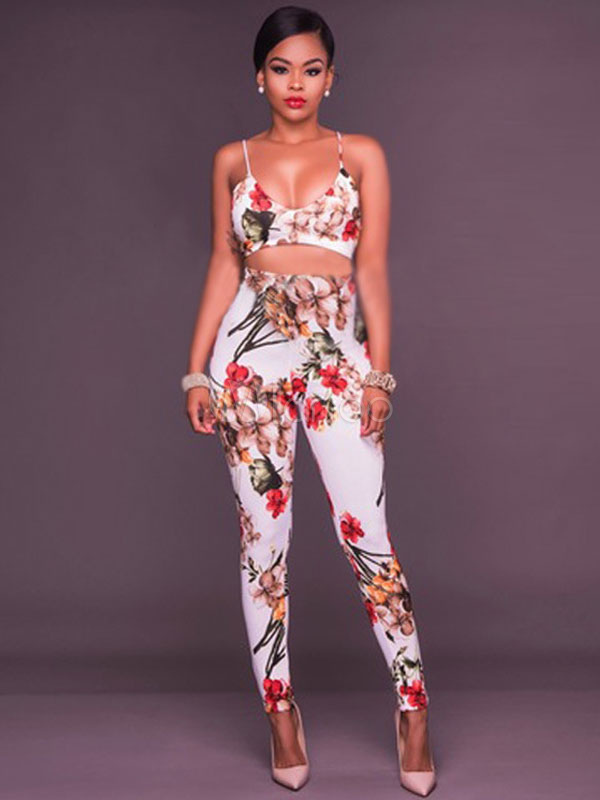 Buy Sexy Floral Jumpsuit Print Straps Sleeveless Cut Out Skinny Leg Jumpsuits For Women for $28.49 in Milanoo store