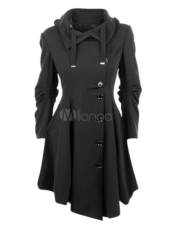 Buy Black Trench Coat Hooded Long Sleeve Ruched Maxi Winter Coats For Women for $47.49 in Milanoo store