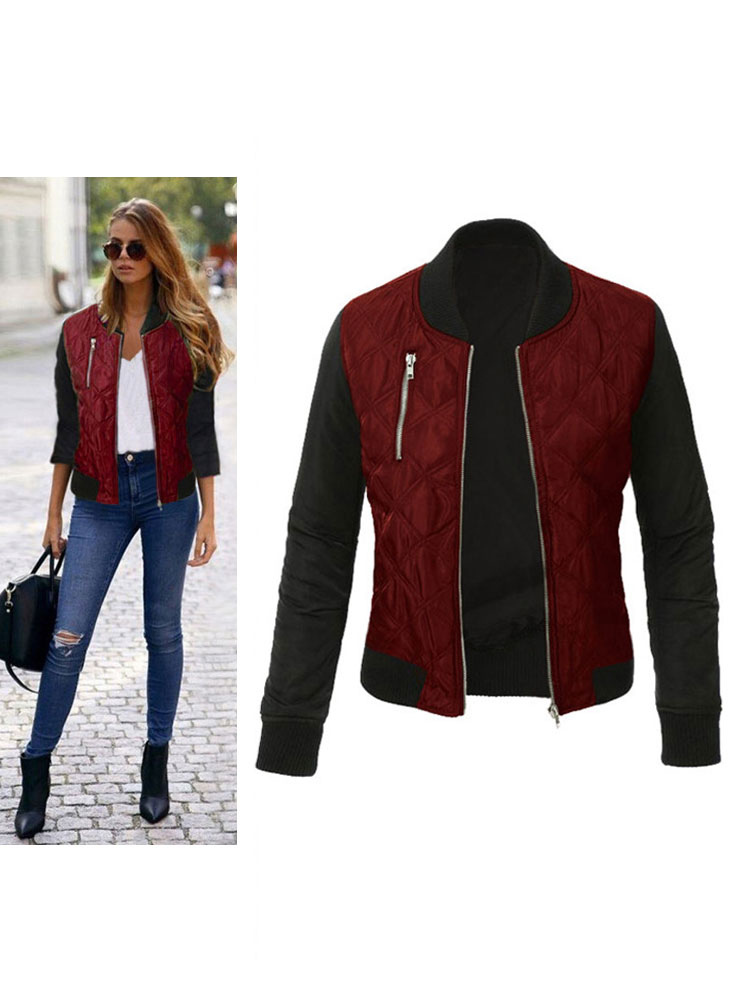 Women Bomber Jacket Burgundy Long Sleeve Stand Collar Padded Jacket Quilted Jackets For Women