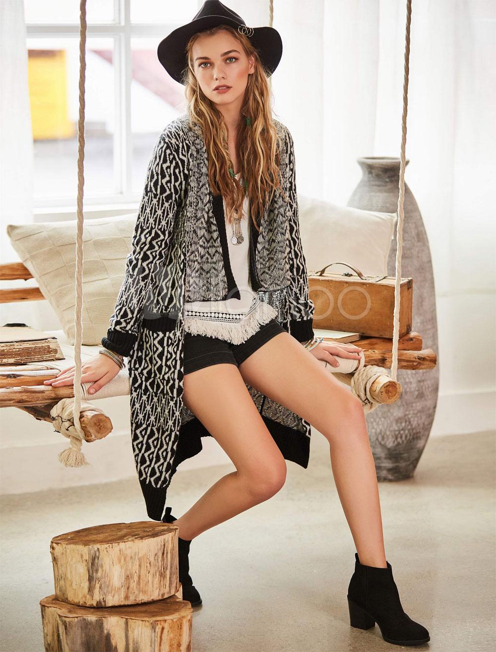 Black Sweater Cardigan Wool Long Sleeve High Low Knit Wear For Women