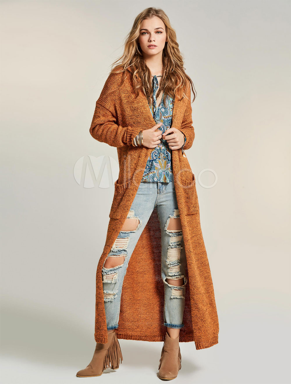 Women Long Cardigan Wool Orange Knit Wear