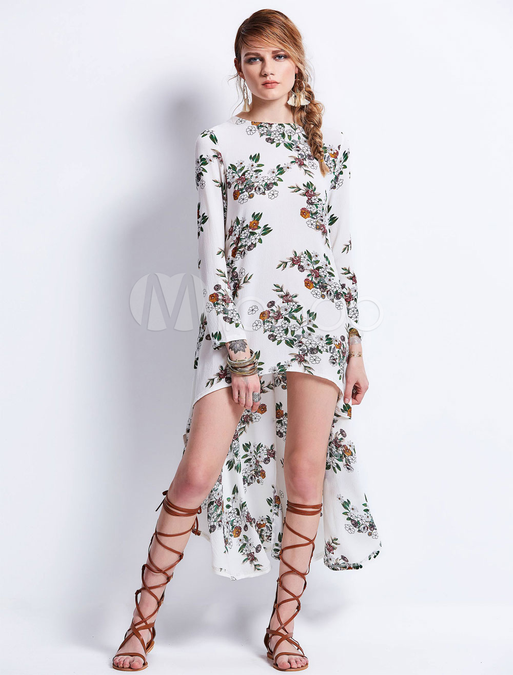 4f5f36c529 White Boho Dress Round Neck Long Sleeve High Low Floral Dresses For ...
