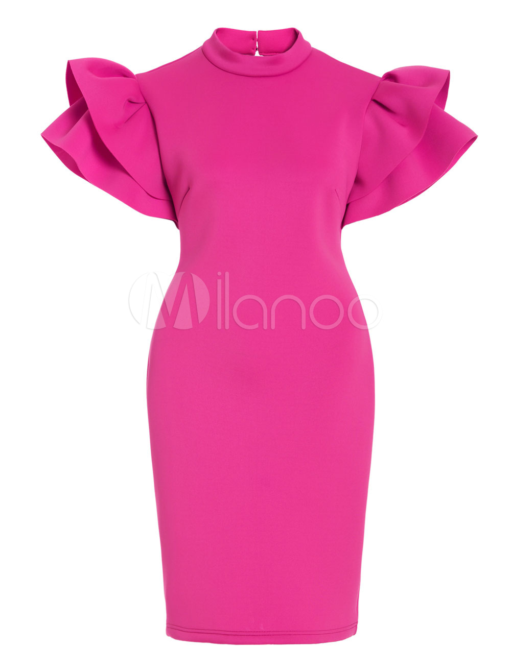 Women Vintage Dresses Rose Round Neck Short Sleeve Ruffles Backless Bodycon Dress