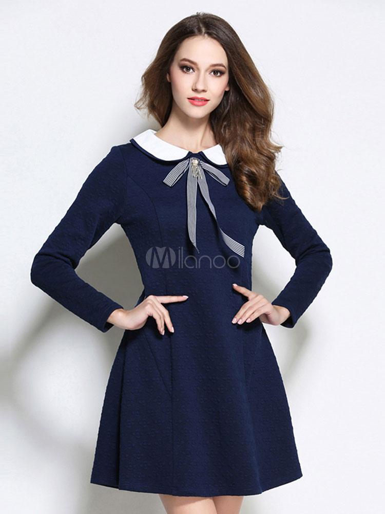 Women Skater Dress Peter Pan Collar Bowknot Long Sleeve Navy Blue Dress-No.1  ... 54031610d5