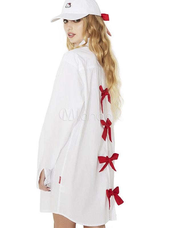 Vestito chemisier corto donna casuale di poliestere bianco