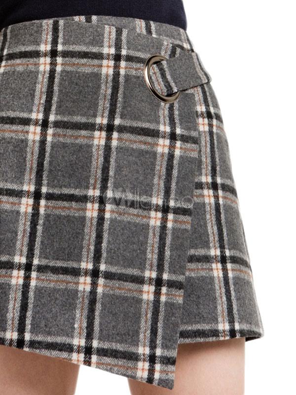 24e956a2c7 ... Falda asimétrica gris de poliéster con dibujo de cuadros para ocasión  informal -No.4