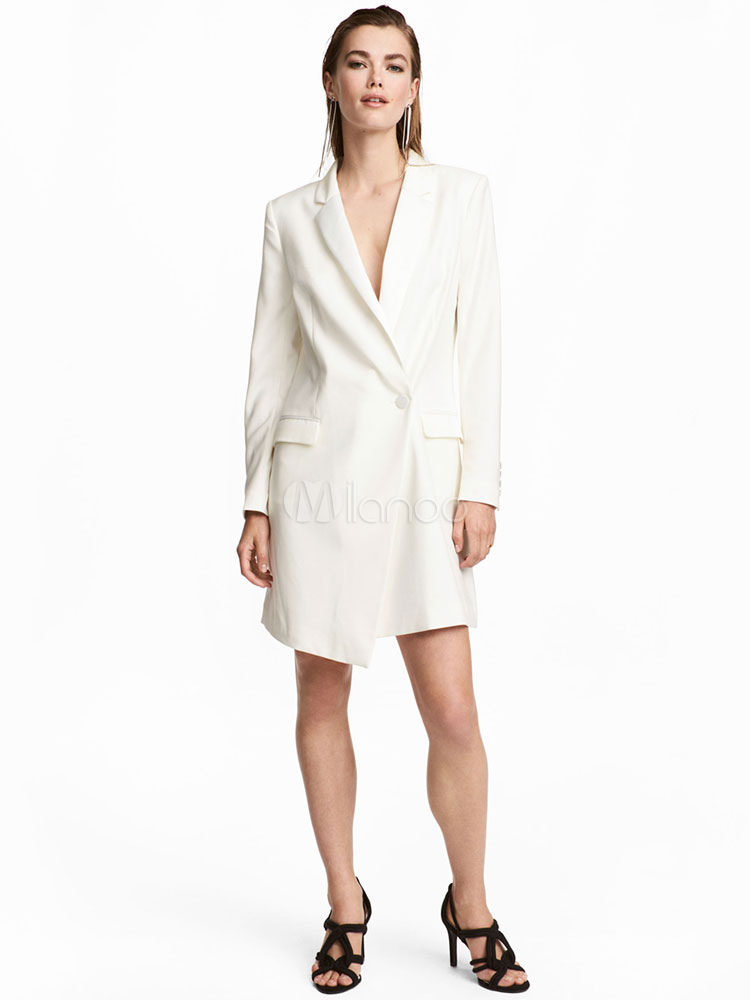 Blazer Work Dress Women White Notch Collar Button Long Sleeve Asymmetrical Spring Dress by Milanoo