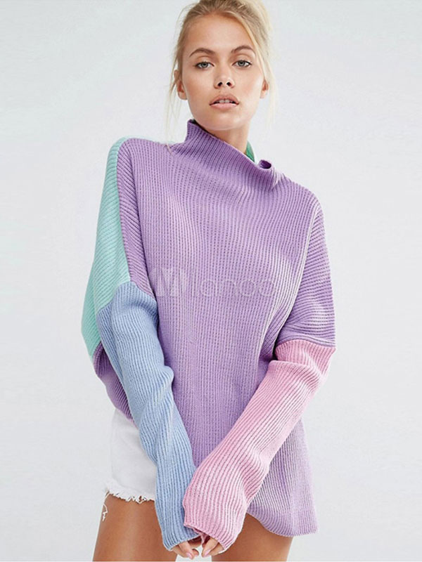 Women Knit Sweater High Collar Drop Shoulder Color Block Slit Purple Pullover Sweater