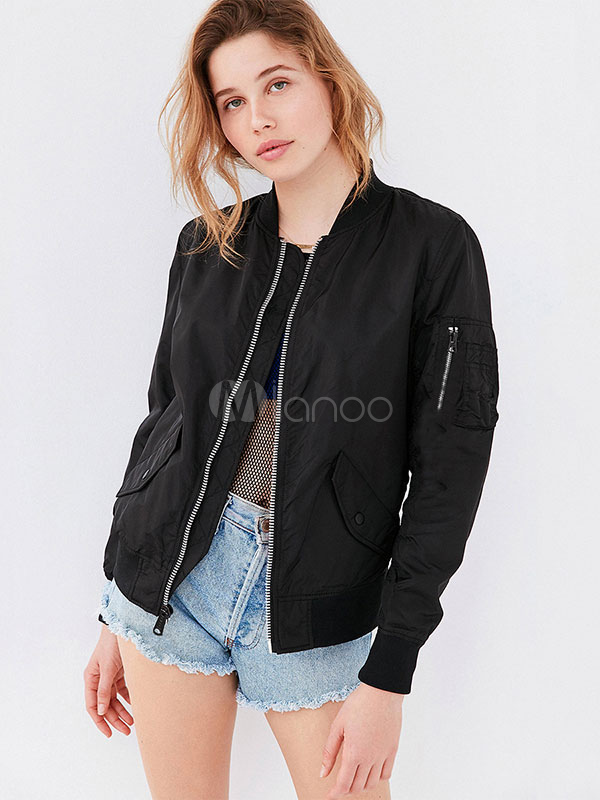 Black Bomber Jacket Long Sleeve Stand Collar Boyfriend Jackets For Women
