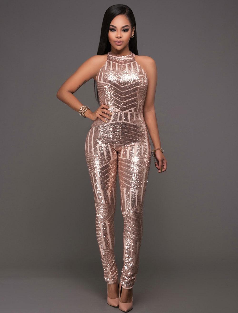 Women Sequin Jumpsuit Champagne Backless Long Skinny Leg Partywear