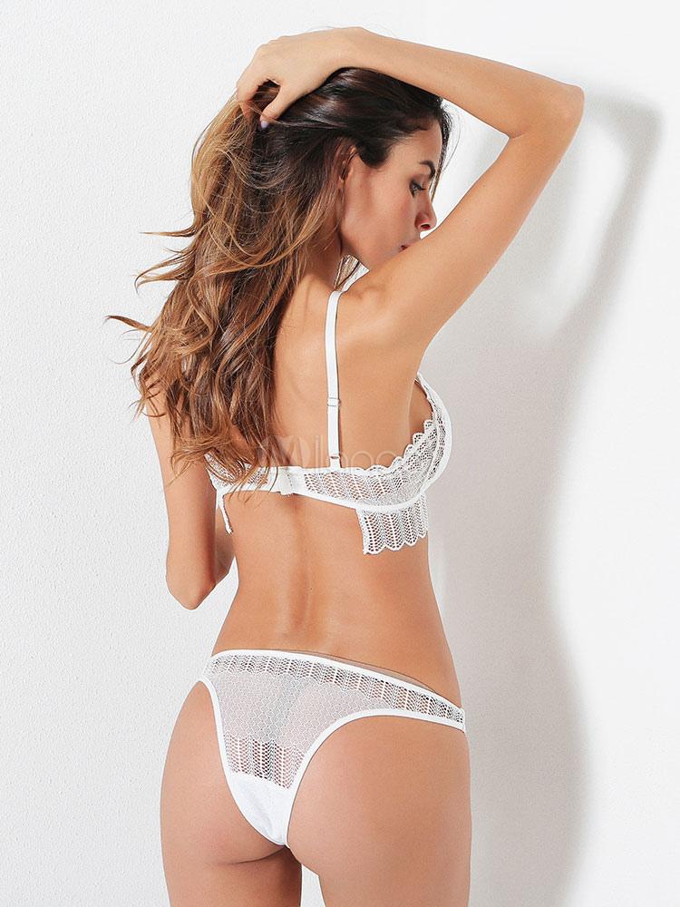 57716e244 ... Lace Bra Set Bridal Lingerie Strappy Women Floral Applique Bra With  Thong-No.4 ...