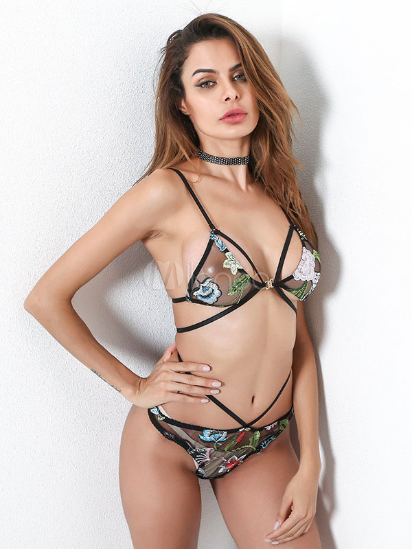 36da429d0ec1e ... Tulle Bra Set Embroidered Strappy Women Black Bra With Brief 2 Piece  Lingerie Set-No ...
