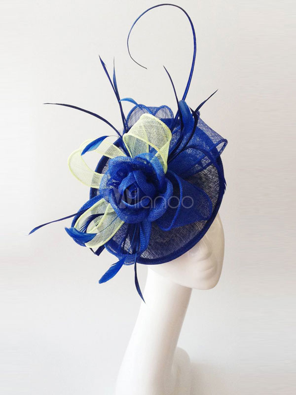 Buy Wedding Fascinator Hats Feathers Tulle Royal Blue Bridal Headpieces for $24.99 in Milanoo store